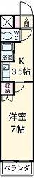 アイルーム豊田永覚II 1階1Kの間取り