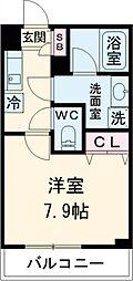 東急田園都市線 桜新町駅 徒歩13分の賃貸マンション 3階1Kの間取り