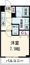 東急田園都市線 桜新町駅 徒歩13分の賃貸マンション 1階1Kの間取り