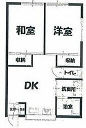 サンハイツ公田 1階2DKの間取り