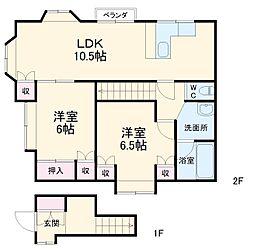 JR東海道本線 辻堂駅 徒歩27分の賃貸一戸建て 1階2LDKの間取り