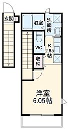 JR総武本線 市川駅 徒歩11分の賃貸アパート 2階1Kの間取り