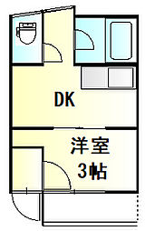 栗橋国分アパートA号棟 2階1DKの間取り