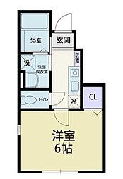 東武伊勢崎線 花崎駅 徒歩28分の賃貸アパート 1階1Kの間取り