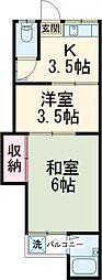 JR中央線 西国分寺駅 徒歩10分の賃貸アパート 2階2Kの間取り
