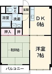 サンハイツE戸倉 2階2DKの間取り