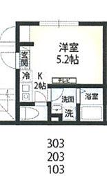 京急本線 六郷土手駅 徒歩7分の賃貸マンション 3階1Kの間取り