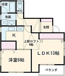東急目黒線 武蔵小山駅 徒歩7分の賃貸テラスハウス 2階1LDKの間取り