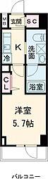 AXASレジデンス目黒東 6階1Kの間取り