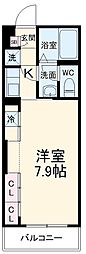 JR総武線 幕張本郷駅 徒歩13分の賃貸マンション 2階1Kの間取り
