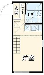 JR横須賀線 新川崎駅 徒歩13分の賃貸アパート 1階ワンルームの間取り
