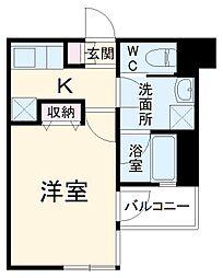 JR南武線 武蔵新城駅 徒歩5分の賃貸マンション 3階1Kの間取り