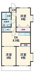 JR京葉線 新浦安駅 徒歩22分の賃貸マンション 4階3LDKの間取り