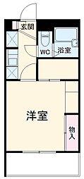 レオパレスセジュール弐番館 2階1Kの間取り