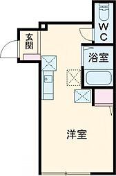 バーミープレイス吉祥寺II 1階ワンルームの間取り