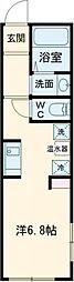 東京メトロ南北線 駒込駅 徒歩8分の賃貸マンション 2階ワンルームの間取り