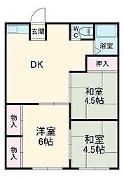 箱根登山鉄道 箱根板橋駅 徒歩5分の賃貸アパート 1階3DKの間取り