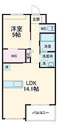 JR東海道本線 鴨宮駅 徒歩26分の賃貸マンション 3階1LDKの間取り