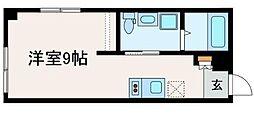 ブライトユー 3階ワンルームの間取り