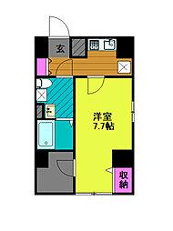 東京メトロ千代田線 綾瀬駅 徒歩8分の賃貸マンション 2階1Kの間取り