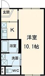 東京メトロ日比谷線 南千住駅 徒歩11分の賃貸マンション 2階1Kの間取り