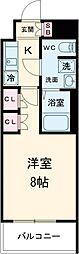 京王線 八幡山駅 徒歩9分の賃貸マンション 5階1Kの間取り