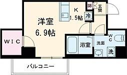 京王線 八幡山駅 徒歩9分の賃貸マンション 4階ワンルームの間取り