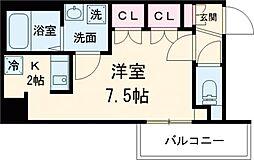 京王線 八幡山駅 徒歩9分の賃貸マンション 2階ワンルームの間取り