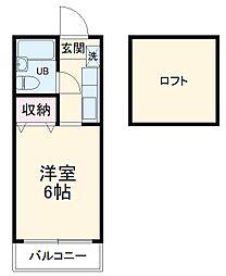 ニューアローズMII 1階ワンルームの間取り