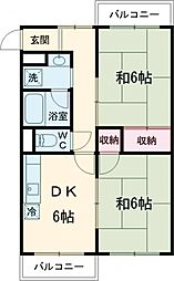 JR中央線 国立駅 徒歩15分の賃貸マンション 3階2DKの間取り