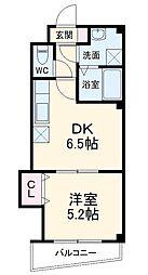 シャトー・ブリュ 6階1DKの間取り