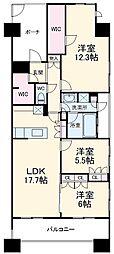 JR京葉線 千葉みなと駅 徒歩8分の賃貸マンション 22階3SLDKの間取り