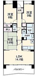 ライオンズマンション千葉グランドタワー 18階3LDKの間取り