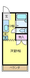 JR中央線 国立駅 徒歩4分の賃貸アパート 2階1Kの間取り