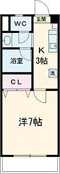 丹木田口ビル 2階1Kの間取り