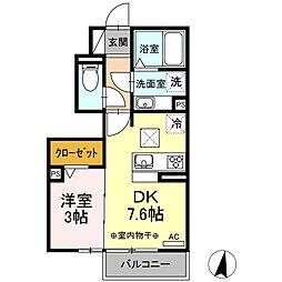 JR東海道本線 清水駅 バス10分 大坪2丁目下車 徒歩3分の賃貸アパート 1階1DKの間取り