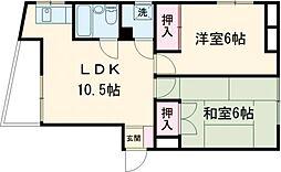 ホワイトセンチュリー三田 4階2LDKの間取り