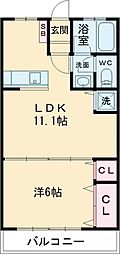JR中央線 国立駅 バス10分 谷保駅下車 徒歩5分の賃貸マンション 3階1LDKの間取り