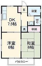 スズランハイツAI 1階2DKの間取り