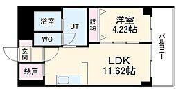あさひグランレジデンシア高崎I 2階1LDKの間取り