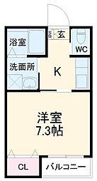 名鉄三河線 土橋駅 徒歩12分の賃貸アパート 1階1Kの間取り