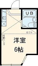 京急本線 横須賀中央駅 徒歩12分の賃貸アパート 2階ワンルームの間取り