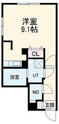 LUORE浄心 4階ワンルームの間取り