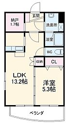 JR飯田線 牛久保駅 徒歩10分の賃貸マンション 1階1LDKの間取り