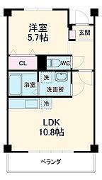JR東海道本線 豊橋駅 バス25分 三菱レイヨン入口下車 徒歩2分の賃貸マンション 2階1LDKの間取り