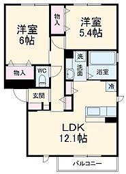 JR東海道本線 愛知御津駅 徒歩7分の賃貸アパート 2階2LDKの間取り