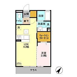 JR両毛線 山前駅 徒歩22分の賃貸アパート 1階1LDKの間取り