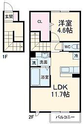 豊橋鉄道東田本線 運動公園前駅 徒歩21分の賃貸アパート 2階1LDKの間取り