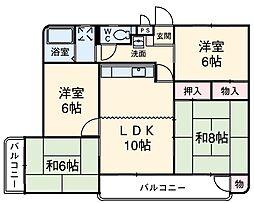 ヴィレッジ杉田A 3階4LDKの間取り