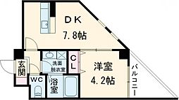 Satsuma-1st 1階1DKの間取り